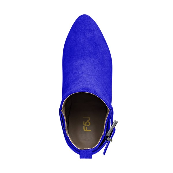 Women's Suede Royal Blue Almond Toe Buckle Chunky Heel Boots image 4