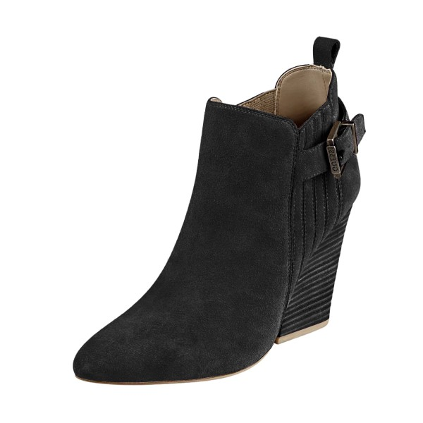Women's Suede Black Almond Toe Buckle Chunky Heel Boots image 1