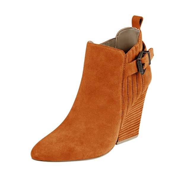 Women's Suede Orange Almond Toe Buckle Chunky Heel Boots image 1