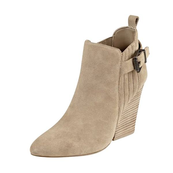 Taupe Boots Closed Toe Wooden Chunky Heel Office Short Boots image 1