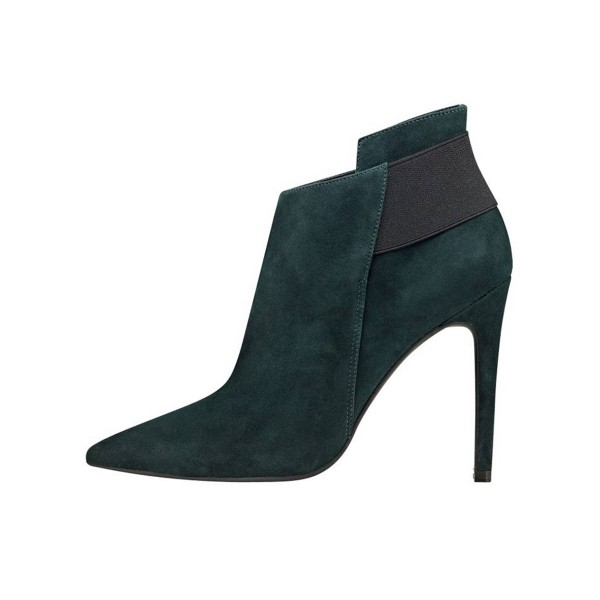 FSJ Teal Shoes Pointy Toe Suede Stiletto Heel Fashion Ankle Booties image 2