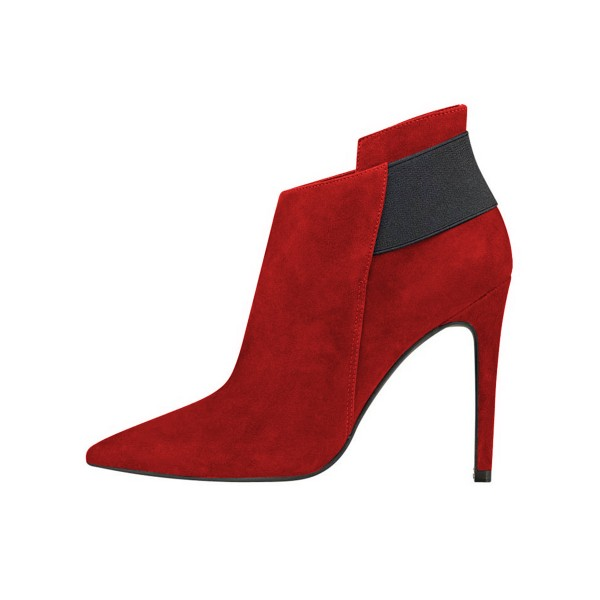 FSJ Red Suede Boots Pointy Toe Stiletto Heel Fashion Ankle Booties image 3