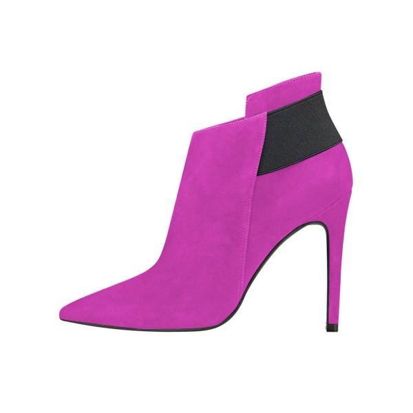 FSJ Fuchsia Suede Stiletto Boots Pointy Toe Fashion Ankle Booties image 3