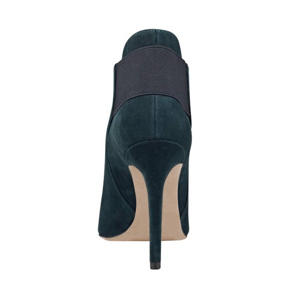 FSJ Teal Shoes Pointy Toe Suede Stiletto Heel Fashion Ankle Booties image 3