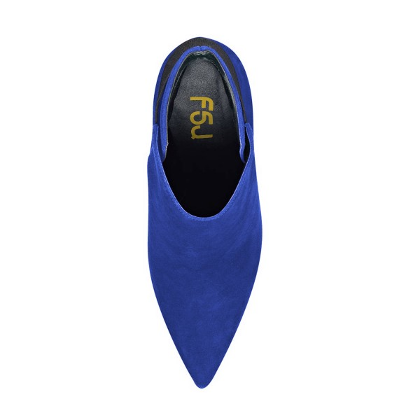 FSJ Royal Blue Suede Stiletto Boots Pointy Toe Fashion Ankle Booties image 4