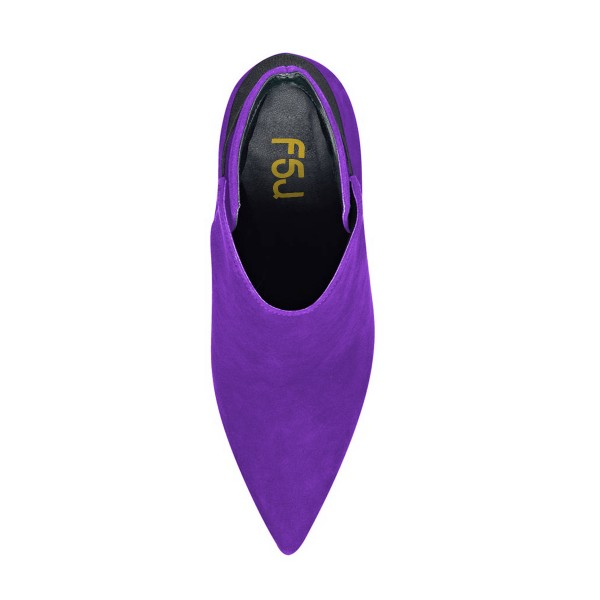 FSJ Purple Suede Stiletto Boots Pointy Toe Fashion Ankle Booties image 4