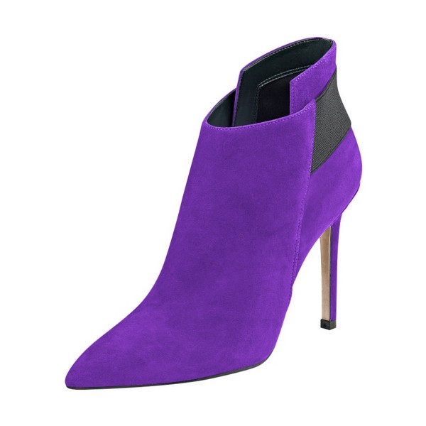 FSJ Purple Suede Stiletto Boots Pointy Toe Fashion Ankle Booties image 1
