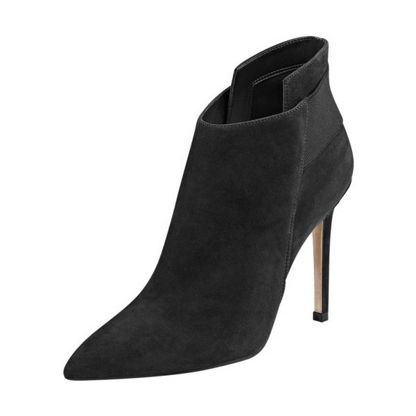 Women's Black Chelsea Boots Stiletto Heels Pointy Toe Ankle Boots image 1