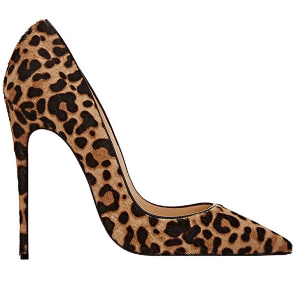 Suede Stiletto Heel Leopard Printed Pumps image 2