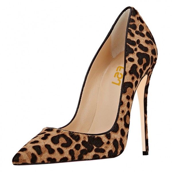 Suede Stiletto Heel Leopard Printed Pumps image 1