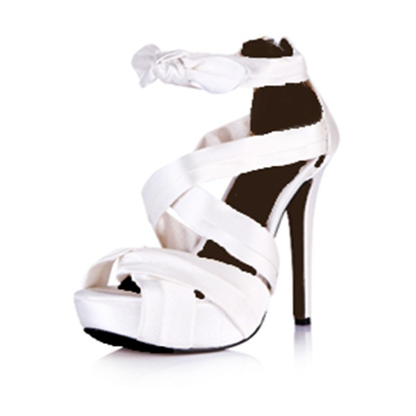 Women's Pure White Satin Heels Strappy Sandals image 1