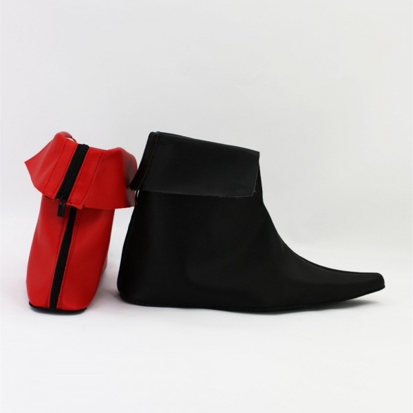 Red and Black Harley Quinn Pointy Toe Flat Ankle Boots for Halloween image 2