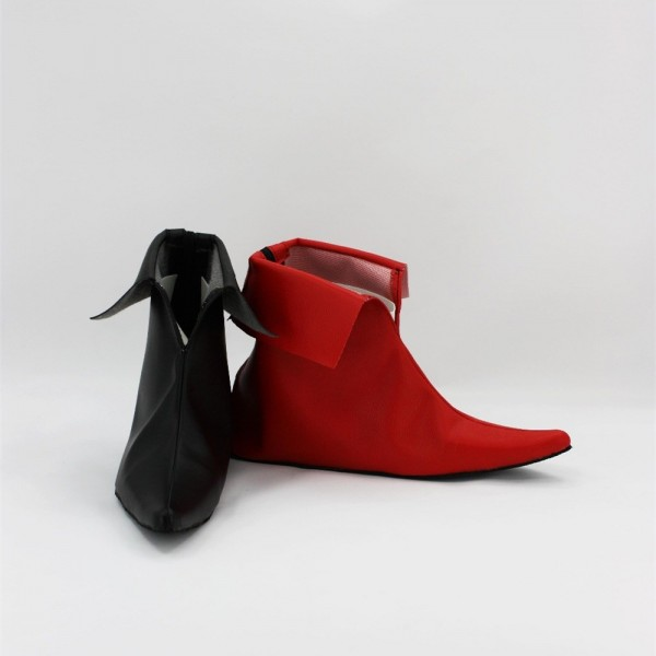Red and Black Harley Quinn Pointy Toe Flat Ankle Boots for Halloween image 1