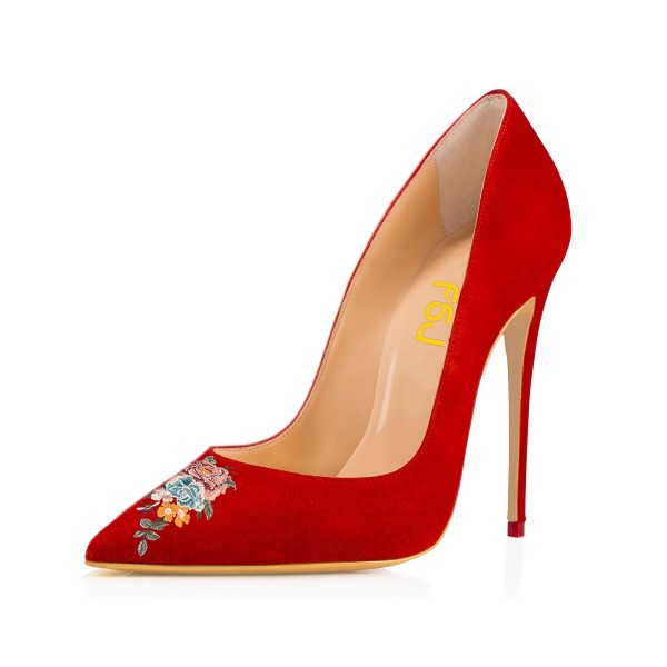 Women's Pointy Toe Red Suede Floral Office Heels Stiletto Pumps image 1
