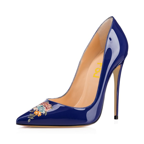 Women's Pointy Toe Navy Floral Office Heels Pumps image 1