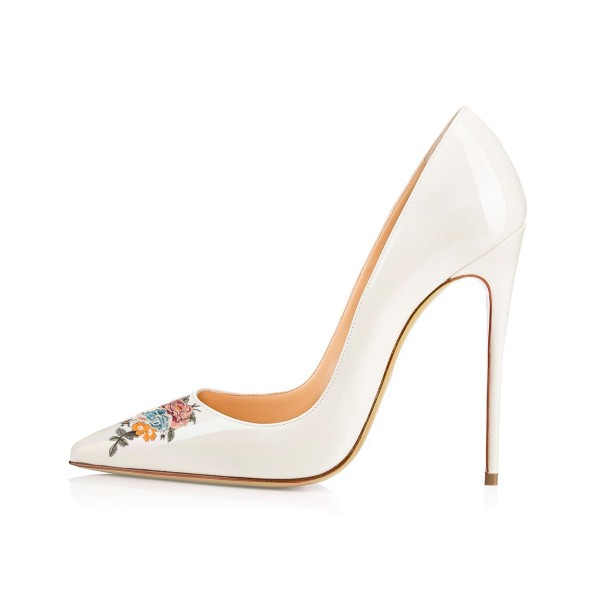 Women's Pointy Toe White Floral Office Heels Pumps image 2