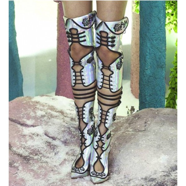 Embroidered Summer Boots Holographic Shoes Buckles Thigh High Boots image 2