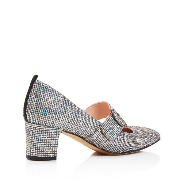 Holographic Mary Jane heels Glitter Shoes Chunky Heel Pumps image 3