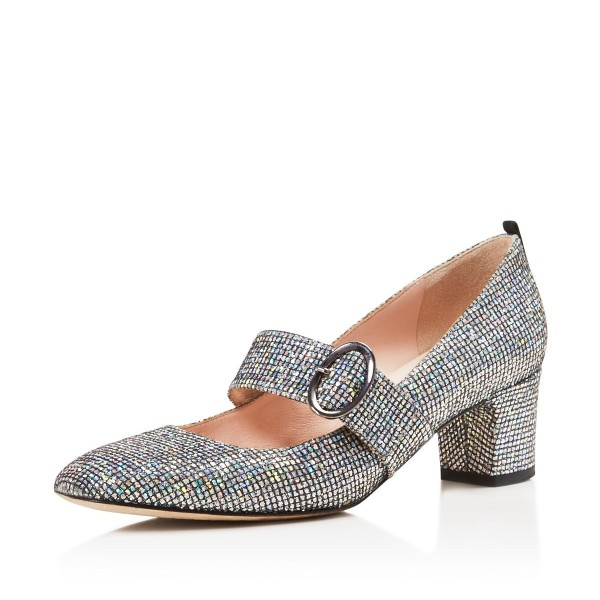 Holographic Mary Jane heels Glitter Shoes Chunky Heel Pumps image 1