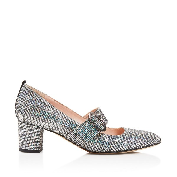 Holographic Mary Jane heels Glitter Shoes Chunky Heel Pumps image 2