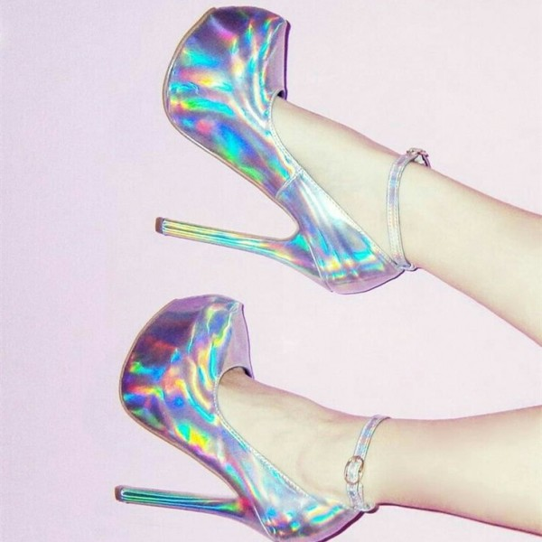 Holographic Shoes Stiletto Heel Ankle