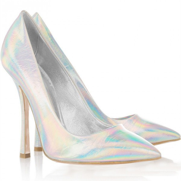 FSJ Pointy Toe Stiletto Heel Holographic Shoes in Silver image 3