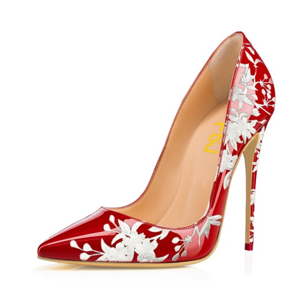 Women's Red Floral Heels Pencil Heel Pumps image 1