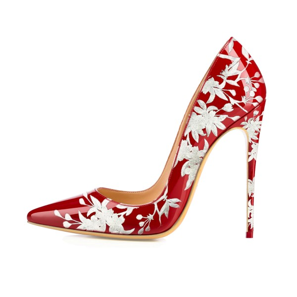 Women's Red Floral Heels Pencil Heel Pumps image 2
