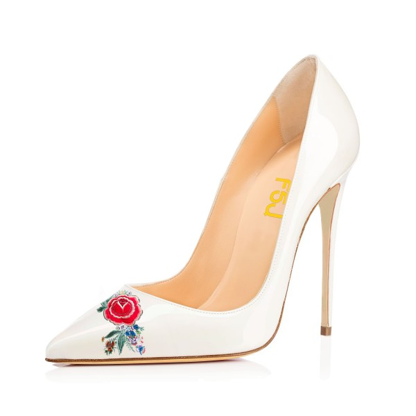 Women's White Pointy Toe Floral Office Heels Pumps image 1