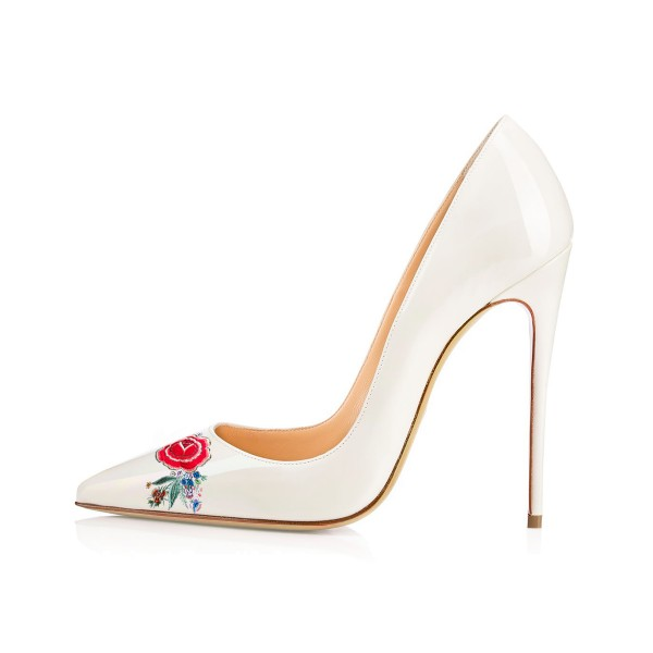 Women's White Pointy Toe Floral Office Heels Pumps image 2