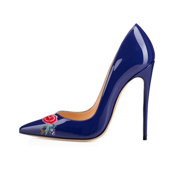 Women's Navy Pointy Toe Floral Office Heels Pumps image 2