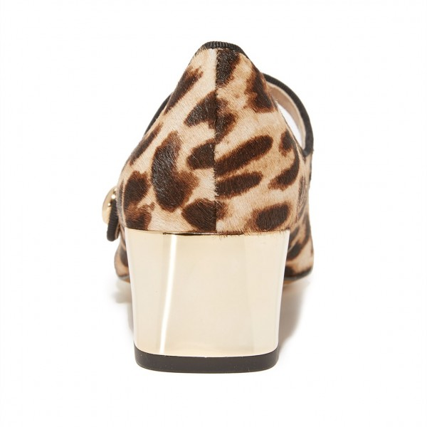 Horsehair Leopard Print Shoes Block Heels Mary Jane Pumps image 2