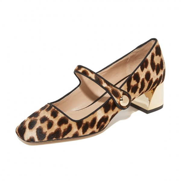 Horsehair Leopard Print Shoes Block Heels Mary Jane Pumps image 3