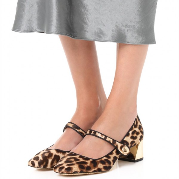 Horsehair Leopard Print Shoes Block Heels Mary Jane Pumps image 1
