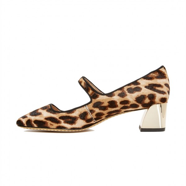 Horsehair Leopard Print Shoes Block Heels Mary Jane Pumps image 4