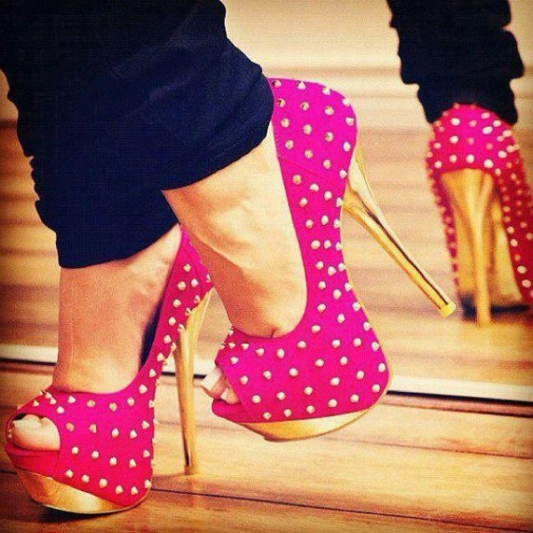 Hot Pink and Gold Stripper Heels Peep Toe Studded Pumps image 1