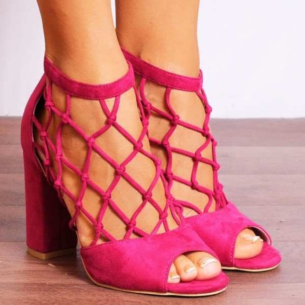 Women's Hot Pink Nets Peep Toe Heels Chunky Heel Sandals image 3