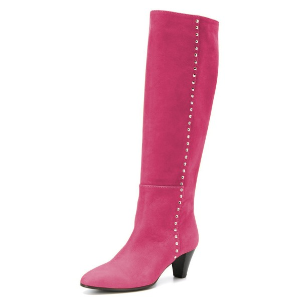 Hot Pink Chunky Heel Long Boots Knee High Boots image 1