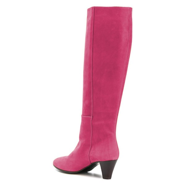 Hot Pink Chunky Heel Long Boots Knee High Boots image 4
