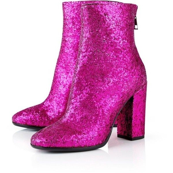 Orchid Glitter Boots Closed Toe Block Heel Fashion Ankle Boots image 1