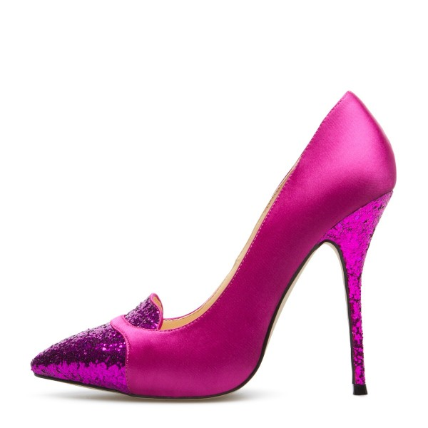 Orchid Glitter Shoes Pointy Toe Stiletto Heels Pumps image 1