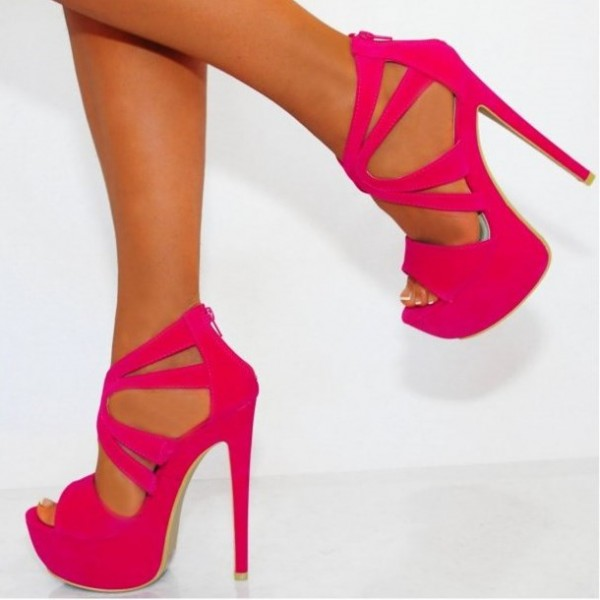 Hot Pink Platform Sandals Suede Stilettos High Heel Shoes image 1
