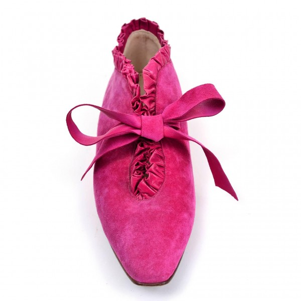 Pink Suede Bow Pointy Toe Flats Comfortable Lace Up Shoes image 3