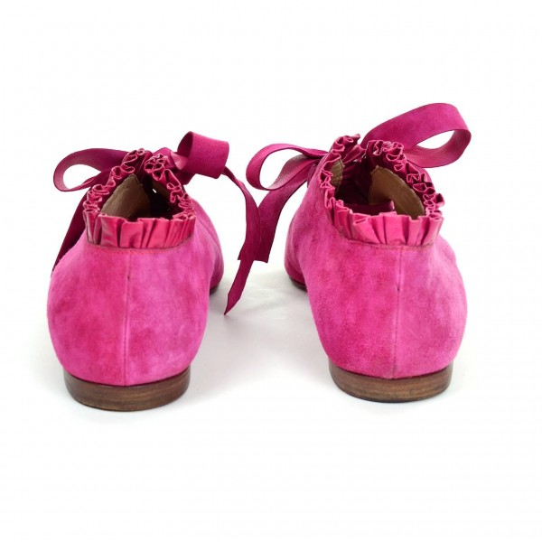 Pink Suede Bow Pointy Toe Flats Comfortable Lace Up Shoes image 2