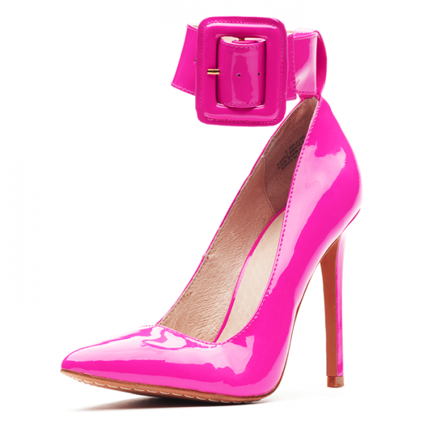 Fuchsia Patent Leather Buckle Ankle Strap Heels Pumps image 1