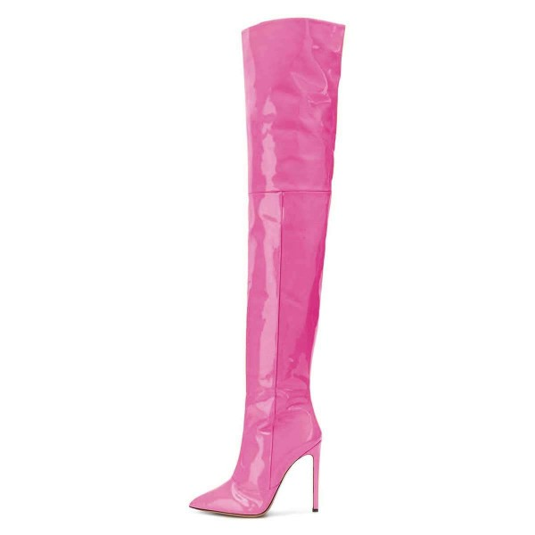 Hot Pink Patent Leather Thigh High Heel Boots  image 2