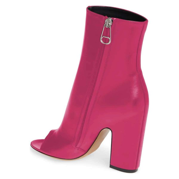Hot Pink Peep Toe Booties Chunky Heel Ankle Boots image 2