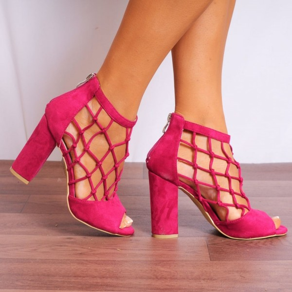 Women's Hot Pink Nets Peep Toe Heels Chunky Heel Sandals image 2