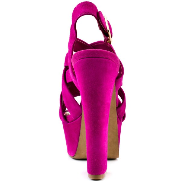 Hot Pink Slingback Heels Suede Platform Chunky Heel Sexy Shoes image 2