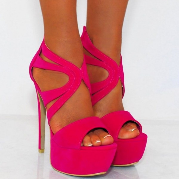 Hot Pink Platform Sandals Suede Stilettos High Heel Shoes image 3